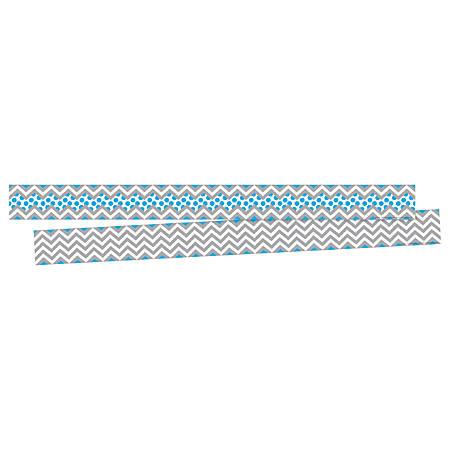 "Barker Creek Double-Sided Border Strips, 3"" x 35"", Chevron Gray/Blue, Set Of 24"