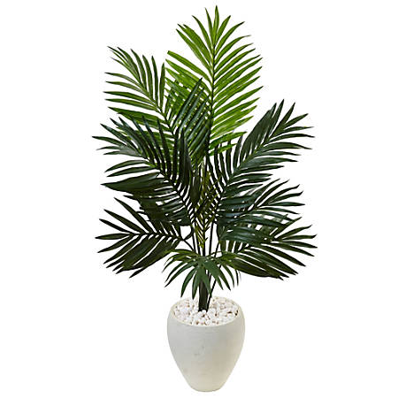 Nearly Natural 4-1/2'H Polyester Artificial Kentia Palm Tree in Oval Planter, Green/White