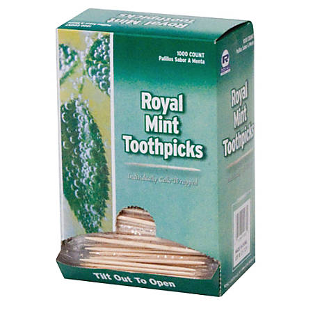 """Royal® Mint Cello-Wrapped Round Wood Toothpicks, 2 1/2"""", Natural, 1,000 Toothpicks Per Box, Carton Of 15 Boxes"""
