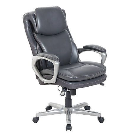 Serta® Smart Layers™ Arlington Bonded Leather Executive High-Back Chair, Dark Gray/Silver