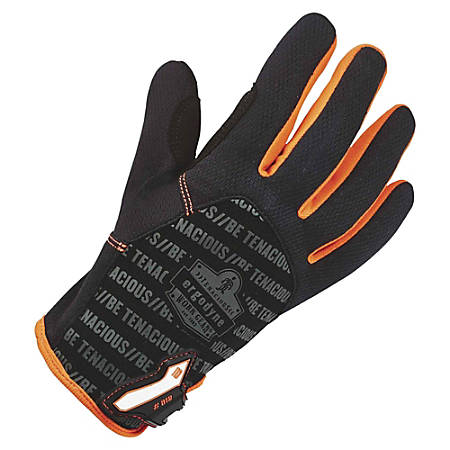 ProFlex 812 Standard Utility Gloves - 9 Size Number - Large Size - Synthetic Leather Palm, Poly - Gray, Black - Reinforced Saddle, Hook & Loop Closure, Pull-on Tab, Comfortable, Flexible, Durable - For Warehouse, Assembling, Maintenance, Distribution, Landscaping - 1 / Pair