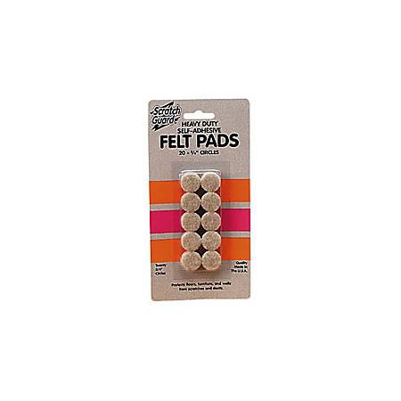 "Master Caster® Scratch Guard® Self-Adhesive Felt Pads, 1"" Diameter Circles, Pack Of 16"
