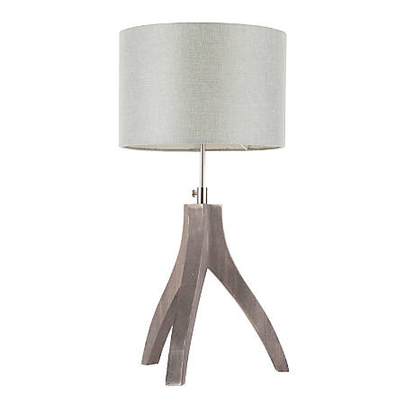 Lumisource Wishbone Contemporary Table Lamp, Wood/Light Grey