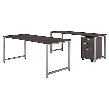 "Bush Business Furniture 400 Series 72""W x 30""D Table Desk with Credenza and 3 Drawer Mobile File Cabinet, Storm Gray, Premium Installation"