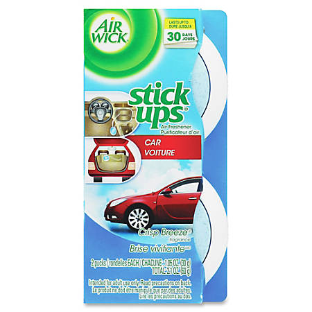 Airwick Stick Ups Car Air Fresheners, Crisp Breeze Scent, 2.1 Oz, Pack Of 2