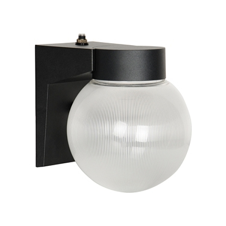 Luminance LED Wall Mount Porch Fixture With Photocell, 9 Watts, 4000K/Cool White, 850 Lumen, Black/Clear Prismatic Globe