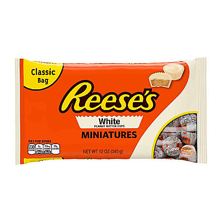 Reese's White Peanut Butter Cup Miniatures, 12 Oz, Pack Of 3 Bags