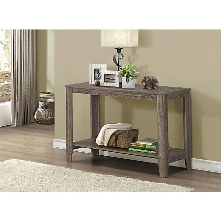 Monarch Specialties Console Table With Shelf, Rectangular, Dark Taupe