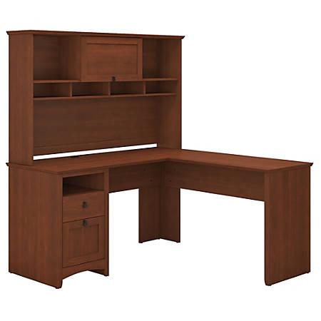 Bush Furniture Buena Vista L Shaped Desk With Hutch, Serene Cherry, Standard Delivery