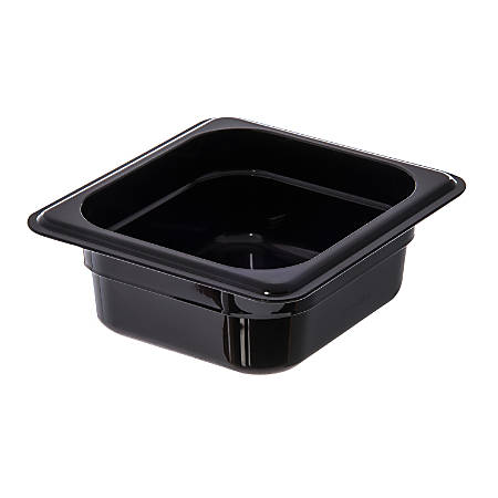 "StorPlus 1/6-Size Plastic Food Pans, 2 1/2""H x 6 3/8""W x 6 3/4""D, Black, Pack Of 6"
