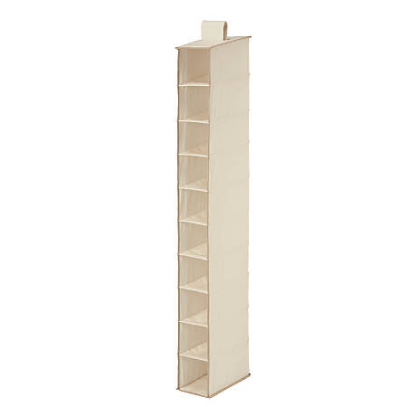 "Honey-Can-Do 10-Shelf Hanging Vertical Closet Organizer, 54""H x 12""W x 12""D, Natural"