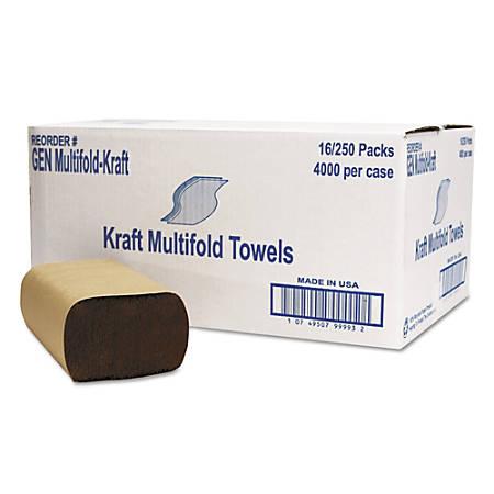 "GEN 1-Ply Multi-Fold Paper Towels, 9"" x 9 7/16"", Brown, Pack Of 250 Towels, Carton Of 16 Packs"