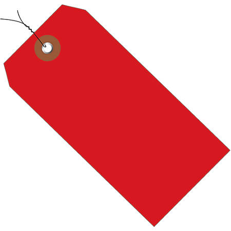 """Office Depot® Brand Prewired Plastic Shipping Tags, 6 1/4"""" x 3 1/8"""", Red, Case Of 100"""