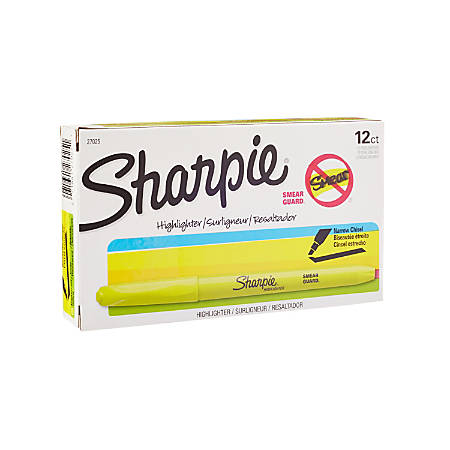 Sharpie® Accent® Pocket Highlighters, Fluorescent Yellow, Box Of 12