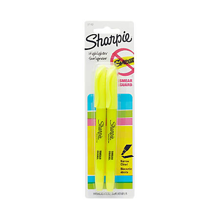 Sharpie Accent Highlighters with Smear Guard - Chisel Point Style - Fluorescent Yellow - 2 / Pack