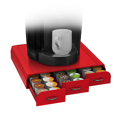 "Mind Reader Coffee Pod Triple Storage Drawer, 2 3/4""H x 13 1/2""W x 12 7/8""D, Red"