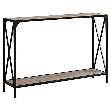 "Monarch Specialties Chantal Accent Table, 32""H x 48""W x 12""D, Dark Taupe/Black"