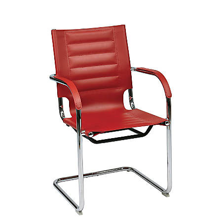 Ave Six Trinidad Guest Chair, Red/Silver