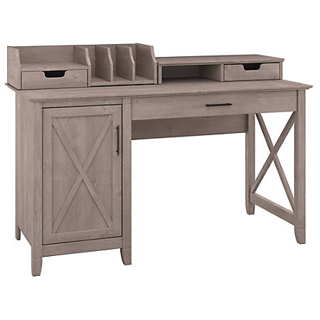"""Bush Furniture Key West 54""""W Computer Desk With Storage And Desktop Organizers, Washed Gray, Standard Delivery"""