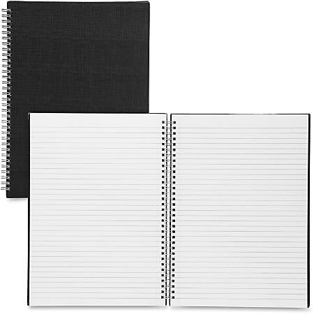 "Sparco Twin - wire A4 Linen Notebook - A4 - 80 Pages - Twin Wirebound - 8 17/64"" x 11 11/16"" - Black Cover - Linen Cover - Soft Cover, Perforated, Easy Tear - 1Each"