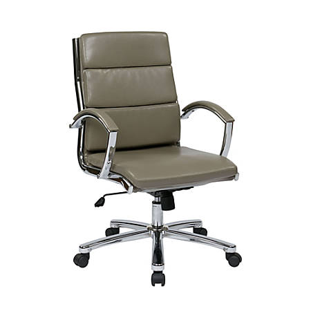 Office Star™ WorkSmart Executive Faux Leather Mid-Back Chair, Smoke/Silver