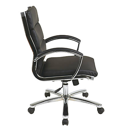 Office Star™ WorkSmart Executive Faux Leather Mid-Back Chair, Black/Silver