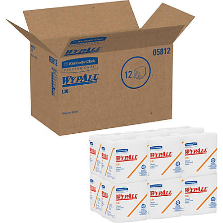 """Wypall® L30 Economizer Wipes, 12 1/2"""" x 13"""", White, 90 Wipes Per Pack, Case Of 12 Packs"""