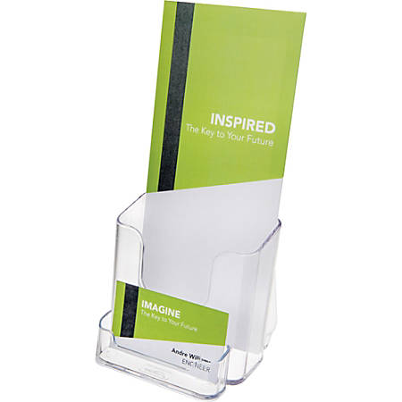 """Deflect-o Countertop Leaflet Holder With Business Card Holder - 2 Compartment(s) - 7.8"""" Height x 4.4"""" Width x 4.1"""" Depth - Desktop - Clear - Plastic - 1Each"""