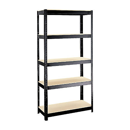 "Hirsh® Industries Commercial-Duty Shelving, 5 Shelves, 36""W, Black"