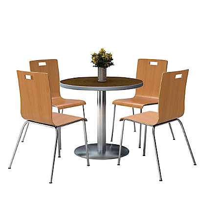 """KFI Studios Jive Round Pedestal Table With 4 Stacking Chairs, 29""""H x 36""""W x 36""""D, Natural/Walnut"""