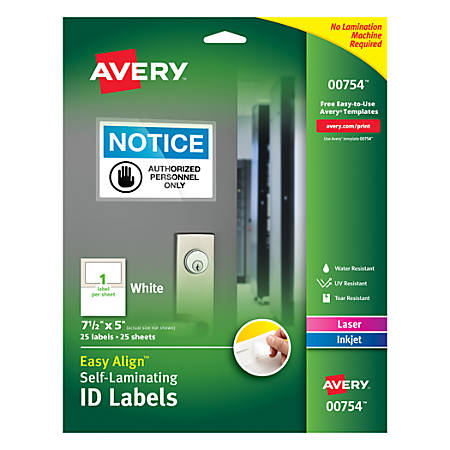 """Avery® Easy Align™ Self-Laminating ID Labels, AVE00754, 5"""" x 7 1/2"""", White, Pack of 25"""