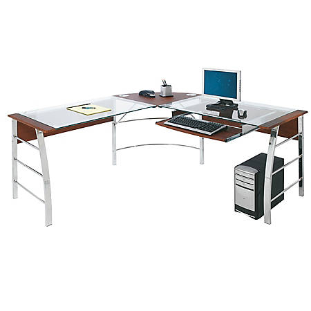 Reale Mezza L Shaped Gl Computer Desk Cherry Chrome
