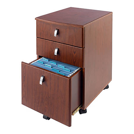 "Realspace® Mezza 19""D 3-Drawer Mobile File Cabinet, Cherry/Chrome"