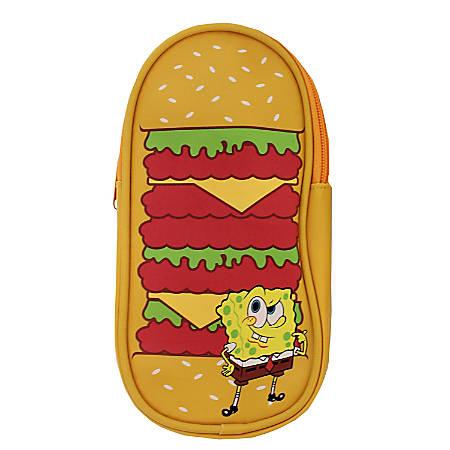 "Nickelodeon SpongeBob Hamburger Pencil Pouch, 3""H x 7-1/2""W x 1/8""D, Multicolor"