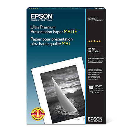 "Epson® Ultra Premium Matte Presentation Paper, 13"" x 19"", 104 Brightness, 51 Lb, Pack Of 50 Sheets"