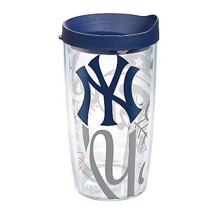 Tervis Genuine MLB Tumbler With Lid, New York Yankees, 16 Oz, Clear