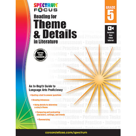 Spectrum® Reading For Theme And Details In Literature Workbook, Grade 5