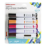 Office Depot® Brand Magnetic Dry-Erase Markers, Chisel Point, White Barrel, Assorted Ink Colors, Pack Of 10