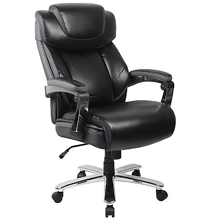 Flash Furniture HERCULES Series Big & Tall Leather Office Chair With Height-Adjustable Headrest, Black/Gray