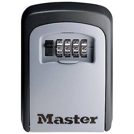 Master Lock Locking Combination 5-Key Steel Box, 3 7/8w x 1 1/2d x 4 5/8h, Black/Silver
