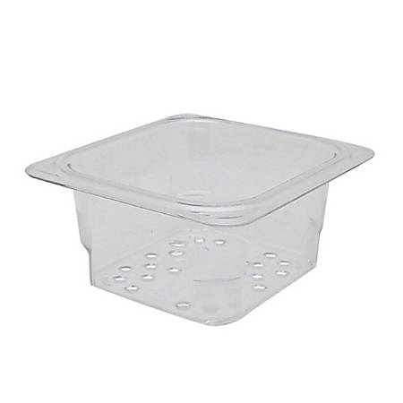 Cambro 1/6 Size Camwear Colander Food Pan, Clear