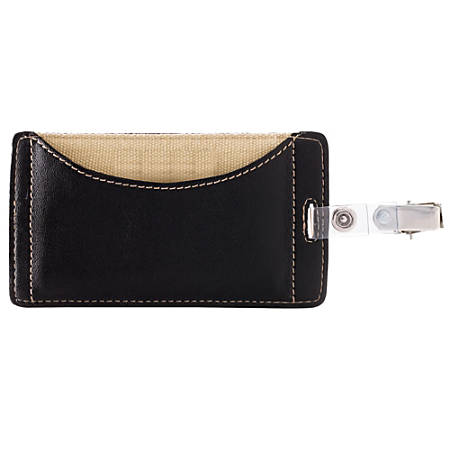 FORAY™ Faux Leather Badge Holder, Black