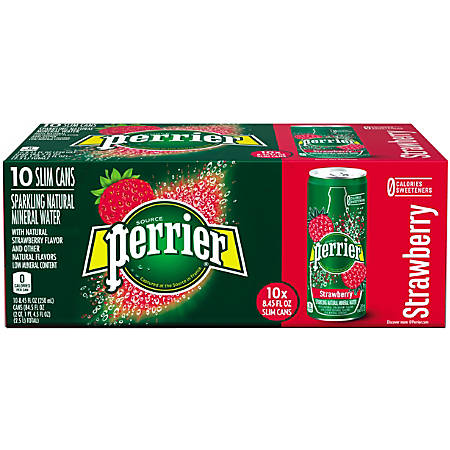 Perrier Sparkling Mineral Water, Strawberry, 8.45 Oz, Pack Of 10
