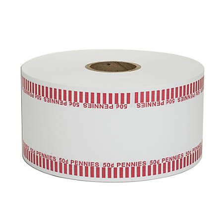 Coin-Tainer® Automatic Coin-Wrapper Roll, Pennies, Red, Roll Of 1,900