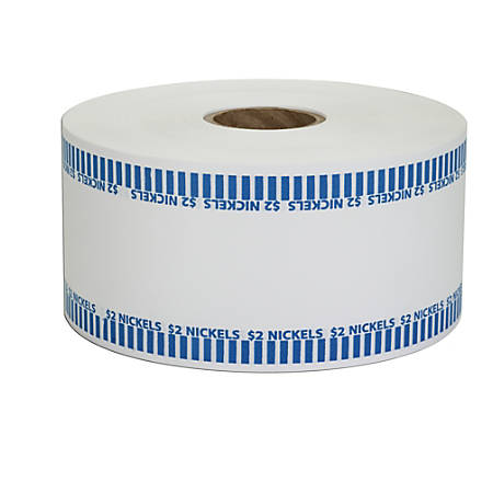 Coin-Tainer® Automatic Coin-Wrapper Roll, Nickels, Blue, Roll Of 1,900