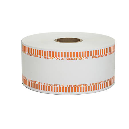 Coin-Tainer® Automatic Coin-Wrapper Roll, Quarters, Orange, Roll Of 1,900