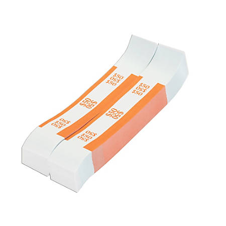Coin-Tainer® Currency Straps, Orange, $50, Pack Of 1,000