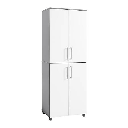 Ameriwood™ Home Latitude Tall Cabinet, 6 Shelves, White/Gray
