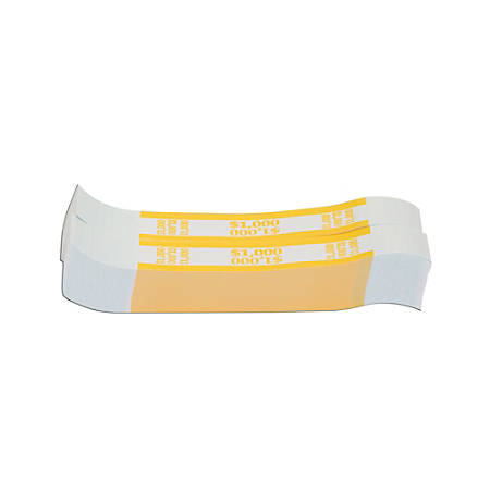 Coin-Tainer® Currency Straps, Yellow, $1,000, Pack Of 1,000