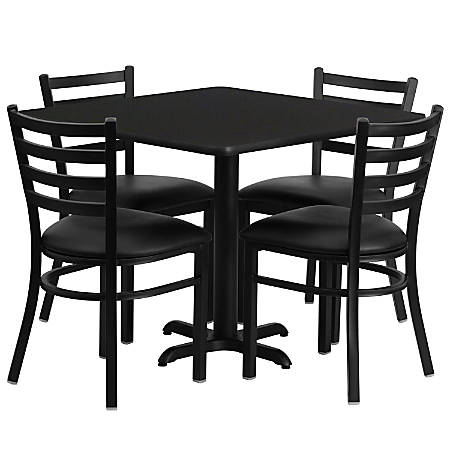 Flash Furniture Square Laminate Table Set With 4 Metal Chairs, Black